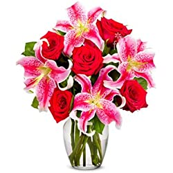 From You Flowers - Red Roses & Stargazer Lilies for Valentine's Day (Free Vase Included)