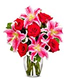 Flowers - Red Roses & Stargazers (Free Vase Included)