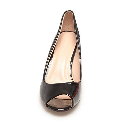 La Modeuse-Sandalias de barniz con punta abierta Negro - negro