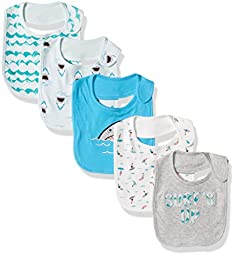 Rosie Pope Baby Bibs 5 Pack, Sharks/Waves, One Size