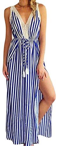 Neck Deep Maxi Roll Striped As Dress Jaycargogo Picture Split Women V Up Waist Sexy Sleeveless nEWAIqP