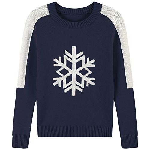 Adory Sweety Warm Sweater for Kids Baby Boy Toddler Adorable Cute Crew Neck Jacquard with Snow Flake Long Sleeve Pullover for Chrismas (Navy, 4Y)