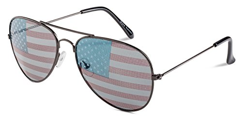 Patriotic Aviator Sunglasses Gunmetal