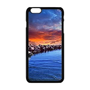 Blue Sea And Rocks Black Phone Case for Iphone6 plus
