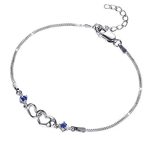 MUATOGIML 925 Sterling Silver Bule Double Heart Infinity Endless Love Bracelet Jewelry for Women Girls, 18