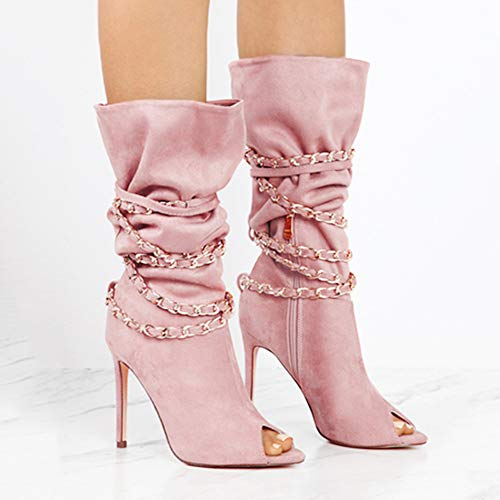 Transer Women Zipper Fish Mouth Thin High Heel Boots Suede Martin Shoes (uk size:7, Pink) Pink