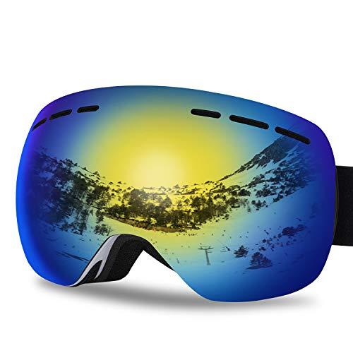 G4Free Ski Snowboard Snow Goggles for Men Women Anti-Fog 100% UV400 Protection Over Glasses Goggles Frameless Spherical Design Detachable Lens System(Yellow)