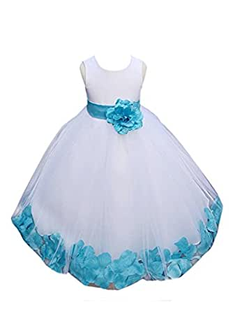 Classykidzshop Rose Petals Special Occasion Dress - 12T White/Turquoise
