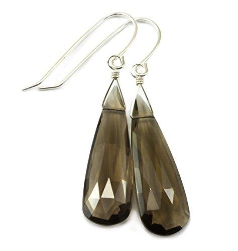 Cut Smoky Quartz Drop Earrings (Sterling Silver Smoky Quartz Earrings Long Faceted Smokey Teardrop Briolettes)