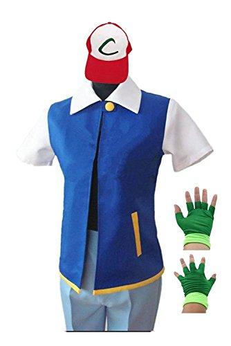 PixieCos Ash Ketchum Cosplay Costume Jacket Gloves Hat Set Trainer Halloween (Adult Ash Costume)