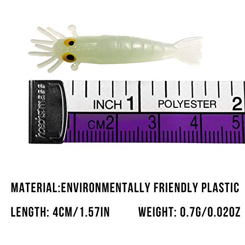 QualyQualy 1.7in Fishing Soft Lures Artificial Bait Luminous Glow Shrimp Grub Worms Lure Saltwater Freshwater Fishing Lures for Bass Walleye Trout Crappie 54 Pieces//Set