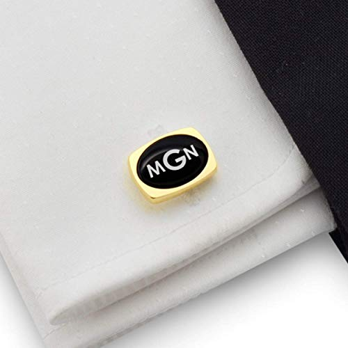 Personalized Gold Oval Cufflinks Custom Engraved - 925 Silver 14K gold plated Balck Onyx stone | FREE Gift Messaged, Box | Handmade