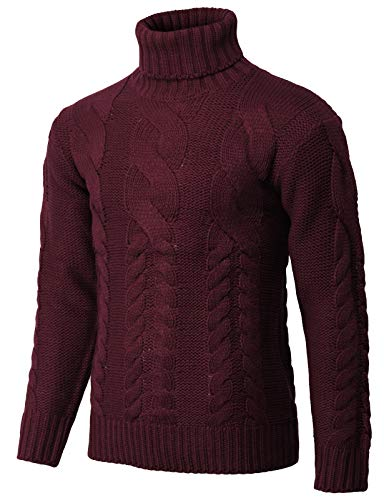 H2H Mens Casual Slim Fit Turtleneck Pullover Sweaters Knitted Long Sleeve Twisted Wine US XL/Asia 2XL (KMOSWL250)