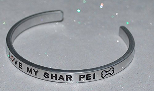 (I Love My Shar Pei / Engraved, Hand Made and Polished Bracelet with Free Satin Gift)