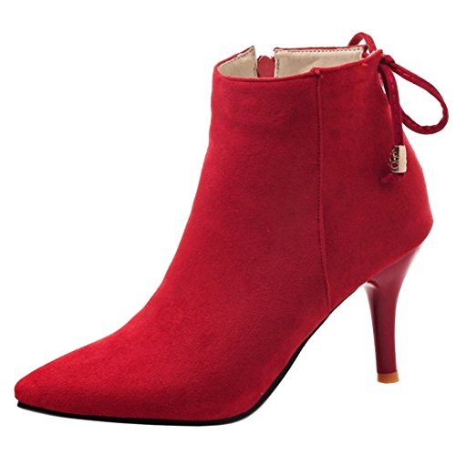 AicciAizzi Women Pointed Toe Ankle Boots Red