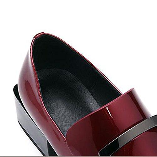 MUMA Escarpin 2018 Printemps Nouveau Noir Rouge Femmes Chaussures Avec Une Seule Chaussures En Cuir Verni Avec Grossier Chaussures Britannique Carré Tête Profonde Bouche Chaussures Femmes Marée ( Coul Vin rouge 7ZqxO1TMj