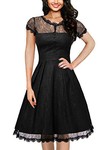 OWIN Women's Retro Floral Lace Cap Sleeve Vintage Rockabilly Swing Prom Party Bridesmaid Dress by OWIN