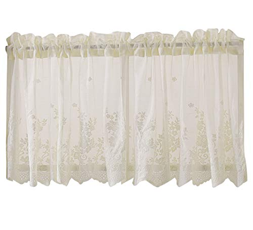 - Topmodehome Lace Floral Embroideried Semi Sheer Curtain Window Valance for Kitchen Cafe Dinning Bath Room 1 Pcs (Beige)