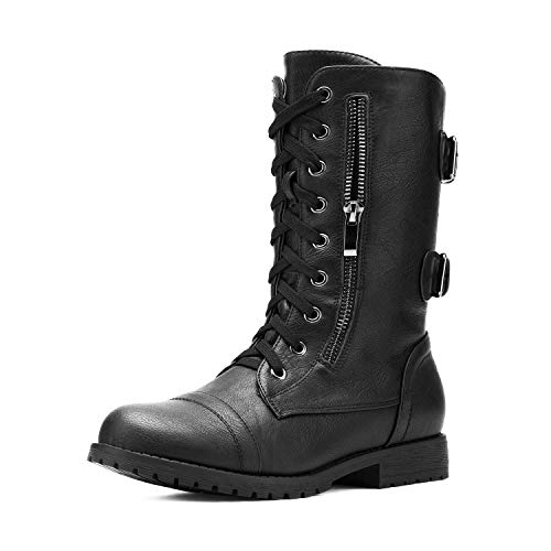 DREAM PAIRS Women's Terran Black Mid Calf Built-in Wallet Pocket Lace up Military Combat Boots - 11 M US
