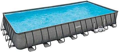 Summer Waves 32ft x 16ft x 52in Above Ground Outdoor Rectangle Frame Swimming Pool Set