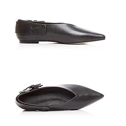 Sandalias Abuela De Retro Palabra La La Zapatos Zapatos De 39 De De De Mujeres Boquilla Tamaño Suave JIANXIN Zapatos Las V Cuero Consejos Cuero Planos Botón dq6fZnwd0
