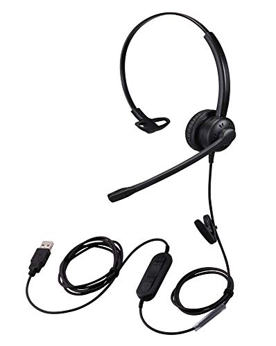 Yexatel USB Headset with Microphone Noise Cancelling for Zoom Skype Teams Web Conferencing Meeting Call Chat Online Courses PC Computer Headphone with in-Lline Volume Control Mute Button Single Ear