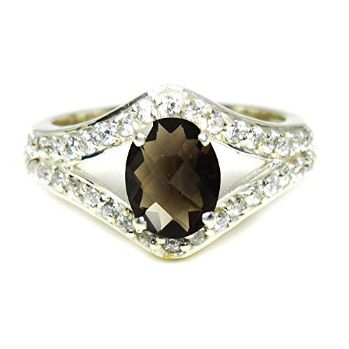 Gemsonclick Choose Your Gemstone Color Oval Natural Silver Cluster Engagement Rings for Women Wedding Jewelry Gift (Ring Faceted Oval Quartz Smoky)