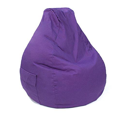 Gold Medal Bean Bags 31011284917TD Large Denim Tear Drop Bean Bag with Pocket, Purple - Gold Medal Bag