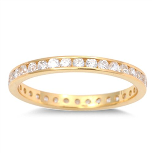 14k Gold Plated Over Sterling Silver Rhodium Plated Clear Crystal Eternity Wedding Band Toe Ring (2)