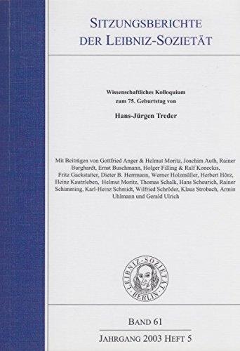 Sitzungsberichte Leibniz-Sozietät der Wissenschaften. Band 61 Jahrgang 2003 heft 5. Wissenschaftliches Kolloquium zum 75. Geburtstag von Hans-Jürgen Treder