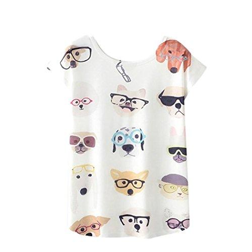 Polo Dog Dress - Howley 2018 Fashion Women Tees Summer Blouse Print T-Shirt Short Sleeve Tops (White, L)