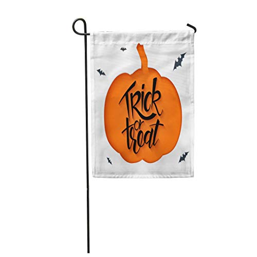 Tarolo Decoration Flag Orange Autumn Sheet Clipped Pumpkin Silhouette and Hand Lettering Halloween Greetings Saying Trick Treat Celebration Thick Fabric Double Sided Home Garden Flag 12
