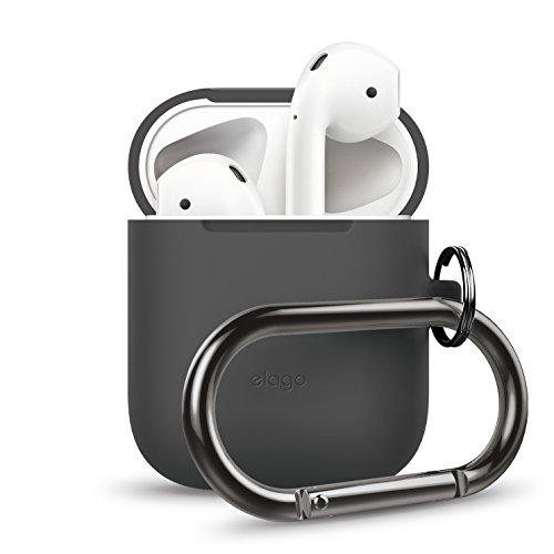 elago AirPods Hang Case [Dark Grey] - [Extra Protection] [Hassle Free][Added Carabiner] - for AirPods Case
