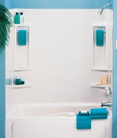 ASB 39240 Vantage Tub Wall, White, 5-Piece (Best Adhesive For Tub Surround)