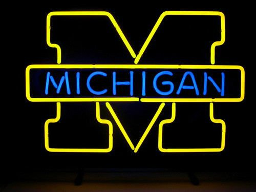 Fashion Neon Michigan Wolverines Real Glass TNeon Signs Handcrafted Bulbs Beerbar Shop Display Neon Sign19x15!!!Best Offer! ()