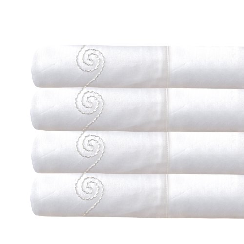 Veratex 100  Egyptian Cotton Sateen 800 Thread Count Usa Made Bedroom Swirl Pillowcase Pair  Standard  White