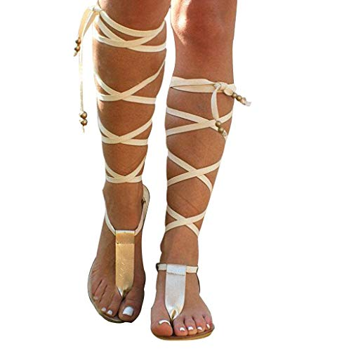 Women Gladiator Sandals Flat,Summer Strappy Lace Up Open Toe Knee High Flat Sandal Gold]()
