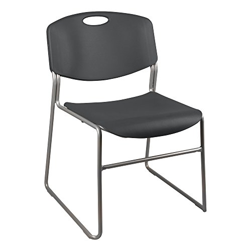 Norwood Commercial Furniture Heavy Duty Plastic Stacking Chair, Charcoal Seat w/ Silver Frame, NOR-FEI1059CH-SO (Pack of 4) - Seat Polypropylene Charcoal