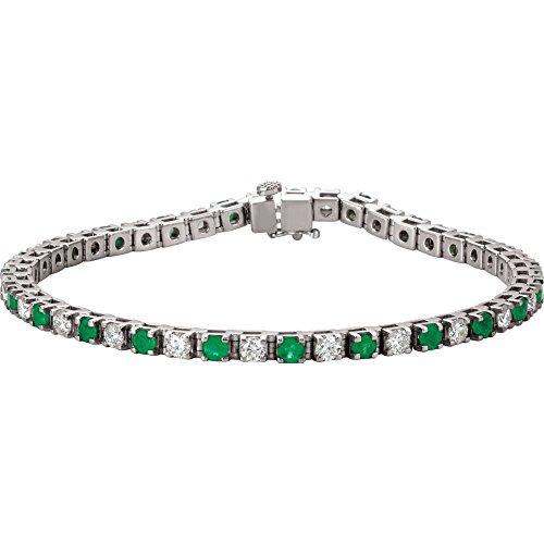 14K White Gold Emerald & 2 3/8 CTW Diamond Bracelet
