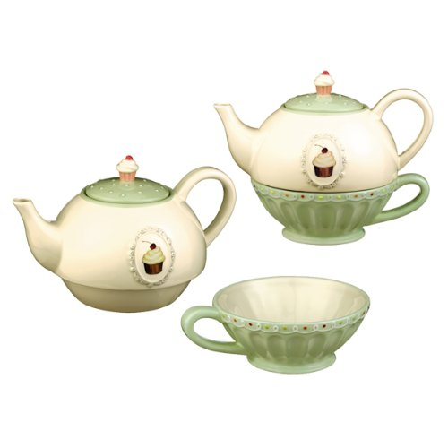Grasslands Road Just Desserts Cupcake 32-Ounce Tea for One Teapot and Teacup Set (Grasslands Road Teapot compare prices)