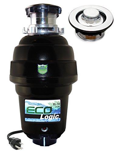 Chrome Waste Disposer - Eco Logic EL-10-DS-PC 10 Designer Series Food Waste Disposer with Polished Chrome Sink Flange, 1-1/4 HP
