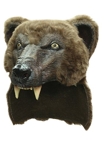 Bear Costume Men (Brown Bear Mask and Helmet Hat with Faux Fur for Halloween)
