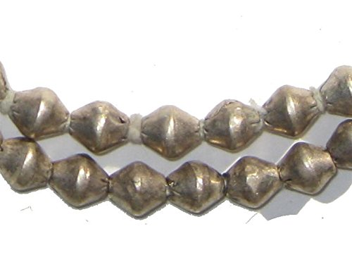 Silver Bicone Beads - Full Strand of Ethiopian Metal Beads - The Bead Chest (7mm, (Metal Bicone)