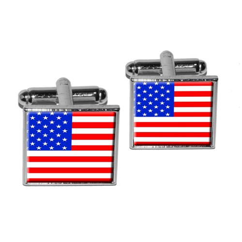 American USA Flag - Patriotic Square Cufflink Set - Silver