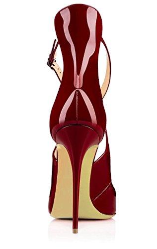 Alto con Taglia Caviglia Grande Cinturino con Donna Scarpe Tacco EDEFS Scarpe Bordeaux Alla xUwqFH8