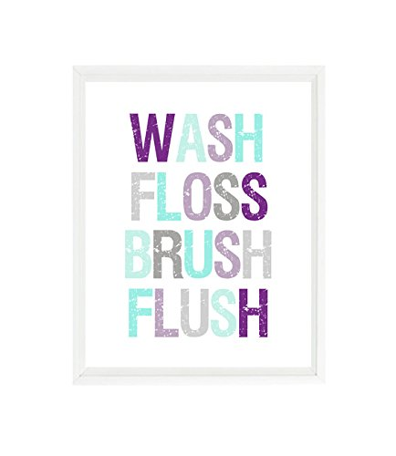 Amazoncom Girl Bathroom Wall Art Wash Floss Brush