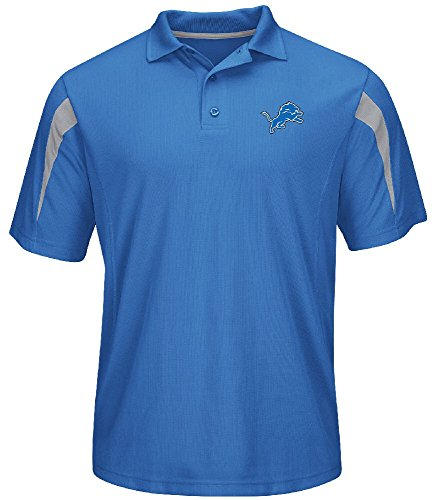 Majestic NFL Detroit Lions Sport Blue Field Classic 14 Synthetic Polo (X-Large)
