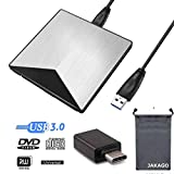 JAKAGO External CD DVD Drive USB 3.0 Portable CD DVD +/-RW ROM Burner Writer with USB Type C Adapter Optical DVD High Speed Data Transfer for Windows10/8/7/XP/Mac/Linux/OS All Type C Devices (Silver)