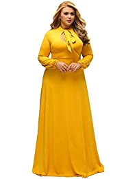 Womens Vintage Long Sleeve Plus Size Evening Party Maxi Dress Gown