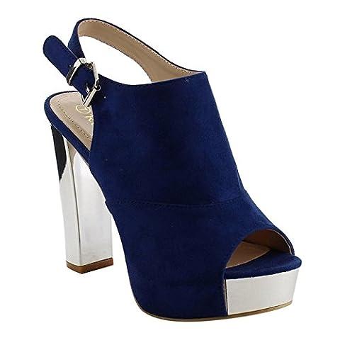 Reneeze AF75 Women's Platform Slingback Ankle Strap Metallic Block Heels, Color:NAVY, Size:8 - Slingback Platform Heels